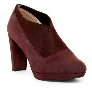 Clarks Narrative Kendra Mix Booties Burgundy Heels